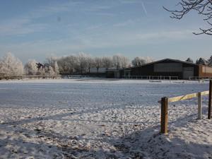 Ausblick des Stalles im Winter